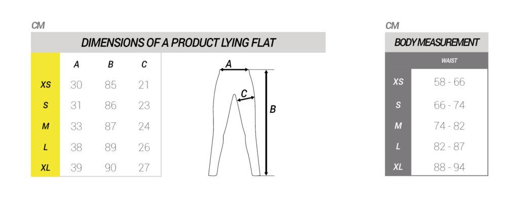 Maattabel lange broek