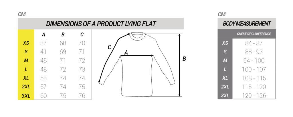 Maattabel shirt lange mouwen