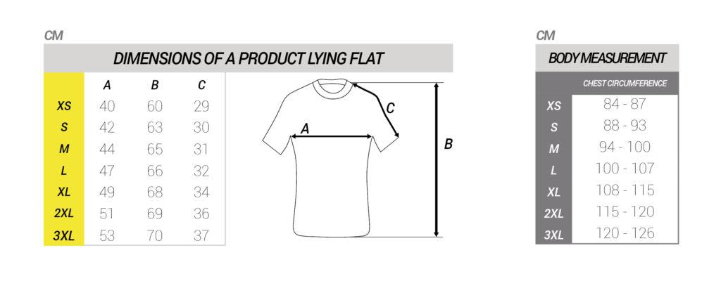 Maattabel shirt korte mouwen