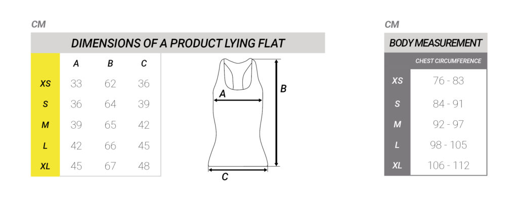 Maattabel shirt dames