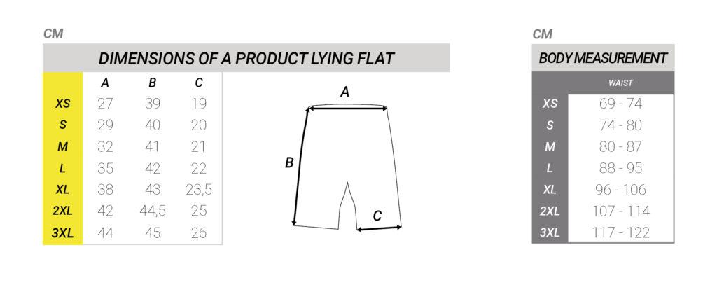 Maattabel korte broek